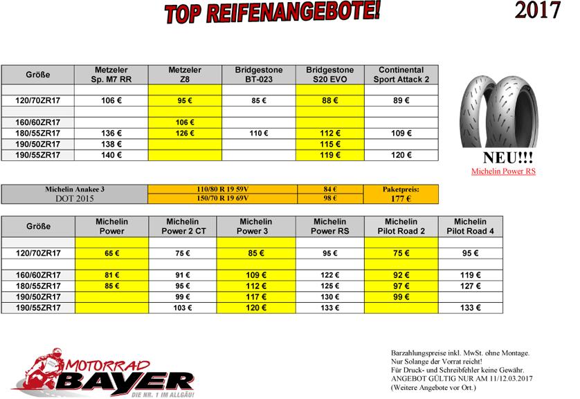 TOP REIFENANGEBOTE (gültig am 11. & 12. März 2017)